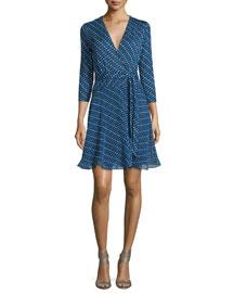 Irina Diagonal Dots Silk Wrap Dress