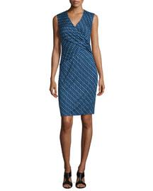 Leora Silk Diagonal Dots Sheath Dress