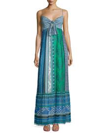 Malina Square Stamps Silk Maxi Dress, Green