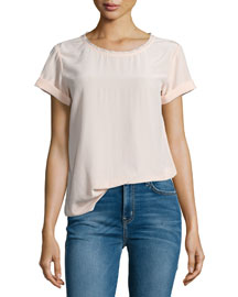 Bakeeve Summer Short-Sleeve Silk Top