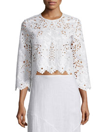 Brizabela Embroidered Linen Crop Top