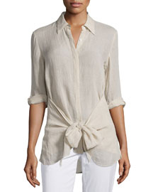 Zallane Tie-Front Soft Linen Top