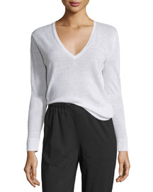 Adrianna Sag Harbor Printed V-Neck Sweater