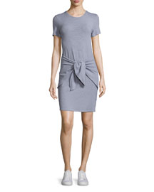 Dakui Narrow Tie-Front T-Shirt Dress
