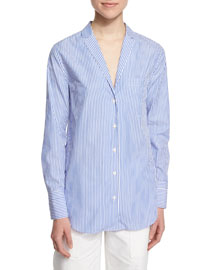 Ryder Long-Sleeve Striped Poplin Shirt, Blue/White