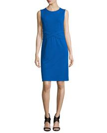 Evita Sleeveless Crepe Sheath Dress, Blue Riviera