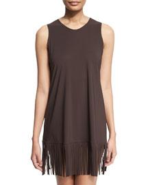 Fringe-Trim Sleeveless Coverup Dress
