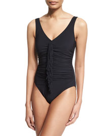 Fringe-Front Underwire One-Piece Swimsuit