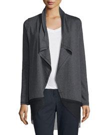 Julianne Knit Jacket w/ Mesh Hem, Charcoal Melange