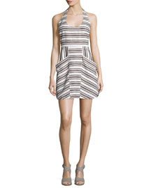 Hudson Striped Halter Dress, Ivory/Black