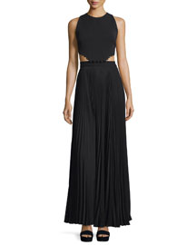 Marco Sleeveless Cutout Maxi Dress, Black