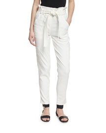 Lee Cropped Paperbag-Waist Pants, White
