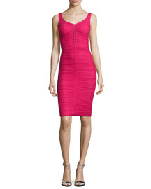 Fenice Sleeveless Ruched Cocktail Dress, Fuchsia