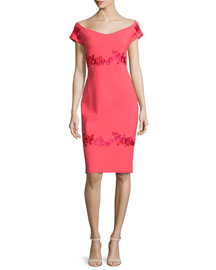 Tasha Off-the-Shoulder Floral-Embroidered Sheath Dress