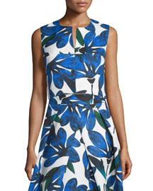 Sleeveless Split-Neck Floral-Print Crop Top