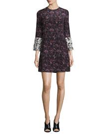 Bell-Sleeve Floral Silk Mini Dress, Ink/Multicolor