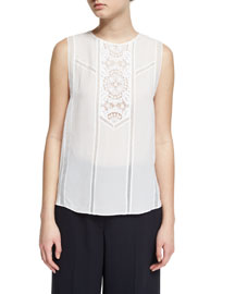 Pennie Sleeveless Sheer Silk Top, White