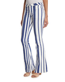 Mia Striped Flare-Leg Jeans, Navy/Multi