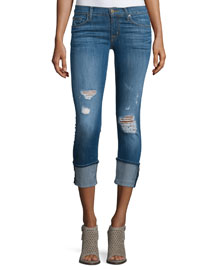 Muse Folded-Cuff Cropped Jeans, Hustle