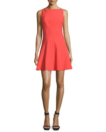 Hollis Sleeveless Fit-and-Flare Dress, Melon