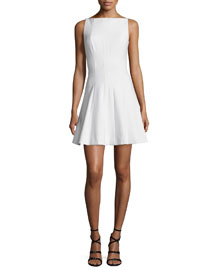 Hollis Sleeveless Fit-and-Flare Dress, White