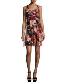 Sleeveless Floral Silk Mini Dress, Multicolor