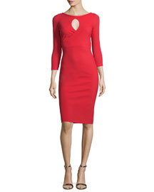Tyra 3/4-Sleeve Keyhole Cocktail Dress