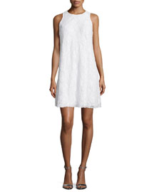 Sleeveless Beaded Lace Swing Dress, Ivory