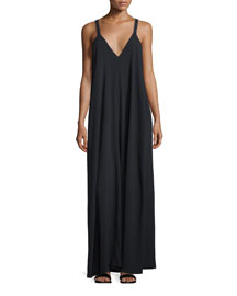 Sleeveless Jersey Maxi Dress, Black