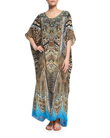 Printed Beaded Round-Neck Convertible Coverup