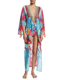 V-Neck Printed Silk Long Coverup Dress, The Free