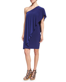 Circle One-Shoulder Draped Dress, Blueberry
