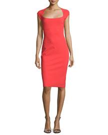 Alix Cap-Sleeve Sheath Dress, Aragosta