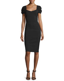 Cristal Ruched-Sleeve Sheath Dress, Nero