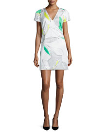 Chloe Short-Sleeve Floral-Print Dress, Green/Multi