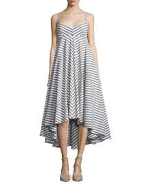 Breton Striped High-Low Dress, Black