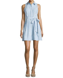 Breton Sleeveless Striped Shirtdress, Blue