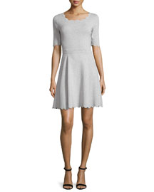 Scalloped Ballet Fit & Flare Dress, Heather Gray