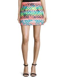 Couture Neon Mini Skirt, Multi Colors