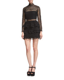 Long-Sleeve Tiered Lace Mini Dress, Black
