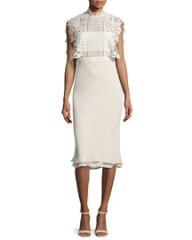 Collared Chiffon & Lace Midi Dress, Cream