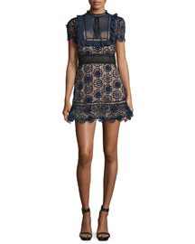 Louisa Lace Mini Dress, Navy/Nude/Black