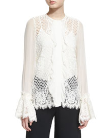 Amilina Long-Sleeve Lace Silk-Trim Top, Ivory