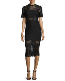 Delila 3/4-Sleeve Lace Midi Dress, Black