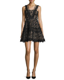 Mindy Sleeveless Embroidered Lace A-Line Dress, Black