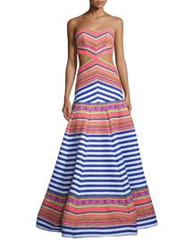 Zuzu Strapless Striped Maxi Dress