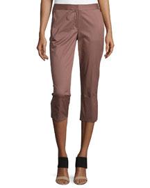 Skinny-Leg Wide-Cuff Pants, Burnt Rose