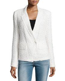 Long-Sleeve Tweed Jacket, Ivory