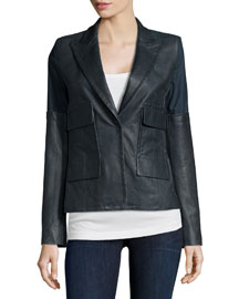 Long-Sleeve Combo Jacket, Slate Melange
