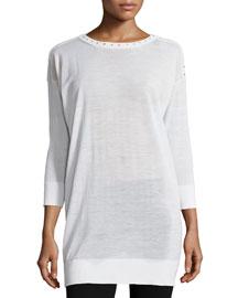 3/4-Sleeve Embellished Tunic, White